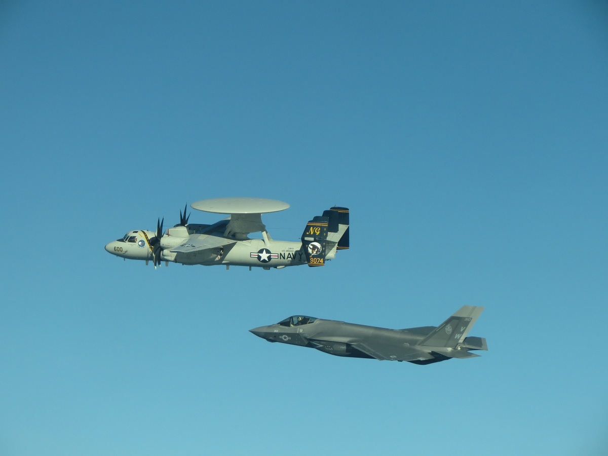 Interesting pictures feature first airborne interoperability practice between USMC F-35C and USN E-2D